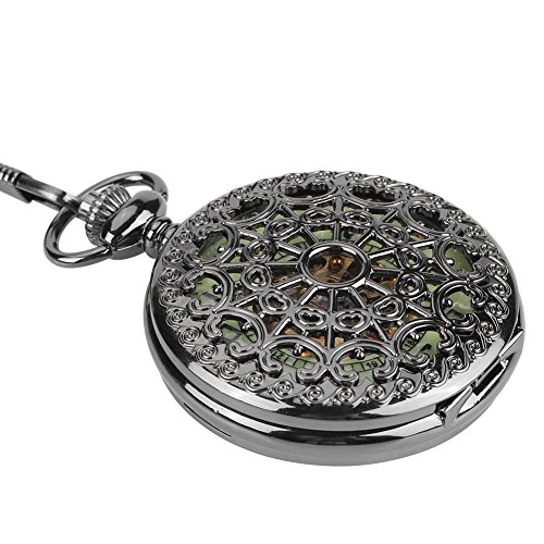 Pocket Watch, Classical Hand-Winding Mechanical Hollowed Luminous Pocket Watch Jewelry Pendant with Chain