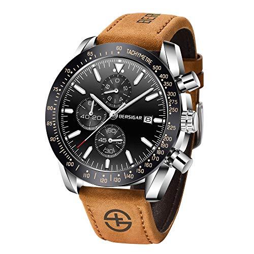 BERSIGAR Orologio da polso da uomo in acciaio inossidabile movimento al quarzo impermeabile cronografo cinturino in pelle marrone