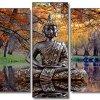 DekoArte 17 - Cuadro moderno en lienzo 5 piezas zen buda en paisaje con lago, 150x3x80cm 5