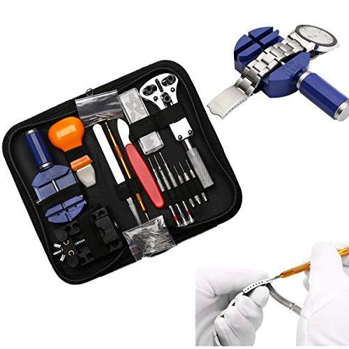 Tinpa - Set di 147 utensili per orologio, portatile Kit di Riparazione Orologi in custodia di nylon...