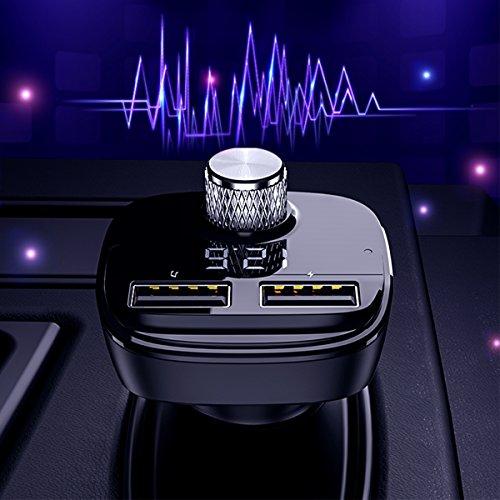 Bluetooth FM Transmitter, KFZ Auto Bluetooth Radio Transmitter Adapter Auto Ladegerät Wireless FM Transmitter in-Auto MP3-Player Auto Kit mit Dual USB Port, TF Karte Slot für iPhone Samsung (Schwarz)