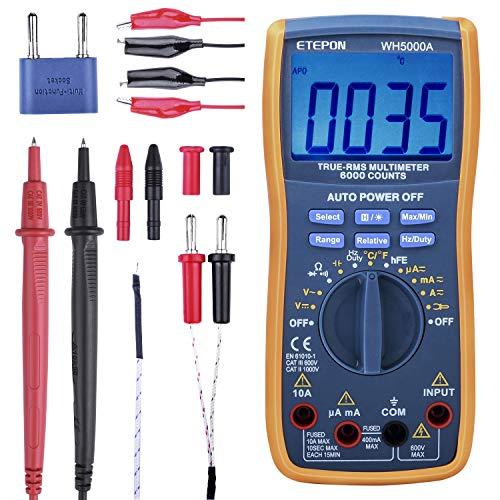 Digital Multimeter, ETEPON True RMS6000 zählt Multimeters Manuelle und Auto-Rang, Misst Spannung, Strom, Widerstand, Kontinuität, Kapazität, Frequenz, Testet Dioden, Transistoren, Temperatur WH5000A