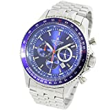 [LAD WEATHER] Swiss Tritium Rotary Slide Rule Pilot Chronograph Japanese Movement Military Casual Men's Watch (Blue)