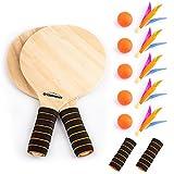Overmont Spiel Set Racket Strandball Badminton Federball Schläger Cricket Ball und Familie Training Kinder Büro Outdoor Sport
