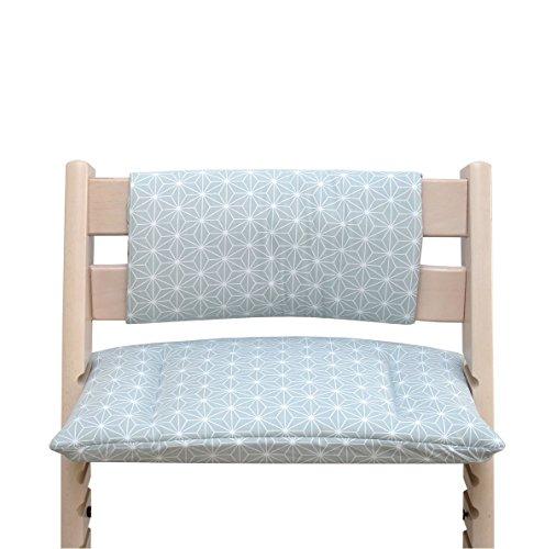 Blausberg Baby - Cuscino per sedia cuscino imbottito Set Junior per Stokke Tripp Trapp Seggiolone (senza la fessura cuscino) - Happy Star Verde