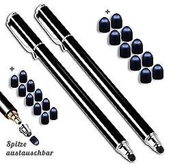 Kaufen 2X Premium Touchstift schwarz mit 20 x Ersatzspitzen Eingabestift Stylus Touch Pen