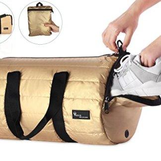 Voova 20L Foldable Gym Bag with Shoe Pocket Travel Duffel Luggage Shoulder  Handbag Gold Water Resistant Polyester for Men Woman … 5961f75960a35