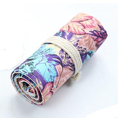 SIPLIV Canvas roll-up matita wrap, viaggio disegno matite da colorare sacchetto per artista, viola...