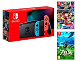 Nintendo Switch Console Rouge/Bleu Néon 32Go [Nouveau modèle]+ Mario Kart 8 Deluxe + Zelda: Breath of The Wild