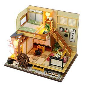 lingzhuo-shop Casas De Muñecas Miniatura DIY De La Casa Maletin Casa En Kit Construccion con Muebles Equipo De Madera Bosque De Vacaciones Estilo Japonés con Guardapolvo
