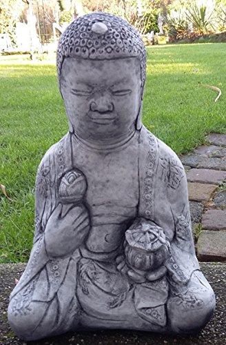 Buda Oferta Especial 21kg pesado de piedra Figura Buda muy bien ausgearbeitet, resistente a heladas hasta -30°C, piedra fundido macizo pensar en Navidad. 6