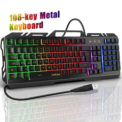 Tastiera Gaming, TedGem Tastiera Gaming PC Tastiera USB LED Retroilluminazione USB Gaming Tastiera...