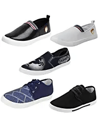 Earton Men Combo Pack Of 5 Pair Casual Shoes Loafers With Sneakers - Multicolour (5)