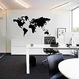 Pegatina Zooarts para decorar la pared, de vinilo, grande, despegable, de color negro y con un diseño del mapa del mundo