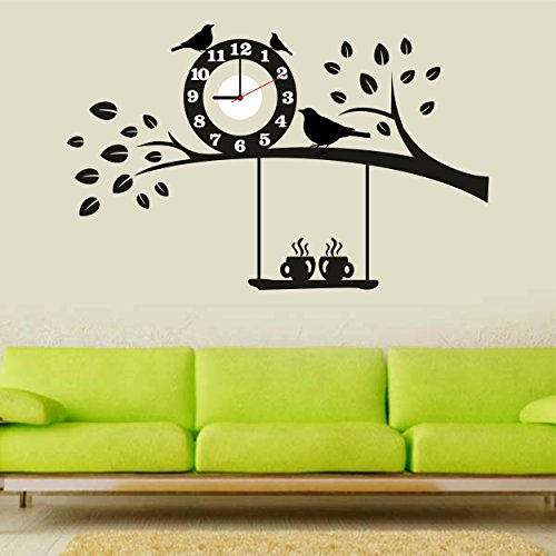 Syga Black Tree An Bird PVC Vinyl Wall Clock (35 cm x 17 cm x 5 cm)