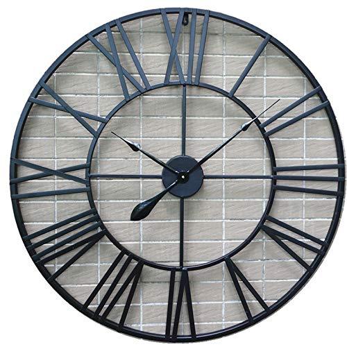 Orologi da parete Indoor 80cm Orologio da muro con numeri romani in metallo retrò europeo - nero