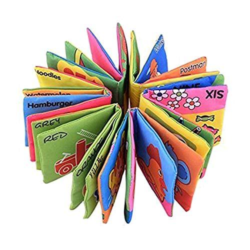 SODIAL Set di 6 Libri in Tessuto morbido, Adatto per bambini di eta' 3 mesi a 3 anni, 10 x 9cm,...