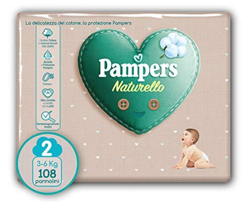 Pampers Naturello Mini, 108 Pannolini, Taglia 2 (3-6 kg)