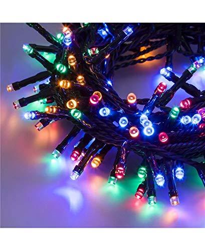 Catena 7,5 m, 180 led multicolor, con giochi di luce, cavo verde, EX Best Value, luci di Natale,...