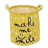 Omkuwl Cesta plegable de ropa de lavandería Cesta plegable de almacenamiento Cesta plegable de ropa de juguete amarillo