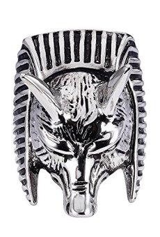 FAIRY COUPLE Anillo de hombre de Acero Inoxidable Egipto dios Anubis anillo Plata y Negro TR46