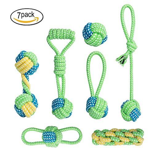 ZeWoo 7 Pezzi Giocattolo della Corda del Cane, masticare giocattoli scioccanti per cane da medio a...