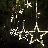 Salcar luci colorate di Natale del LED 2 * 1 metro 12 stelle colorate illuminano tenda per le feste di Natale, Decorare, Party, 8 programmi scelta di colori (bianco caldo)