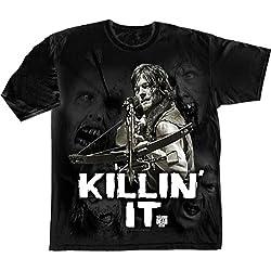 The Walking Dead Killin' It - Camiseta manga corta para hombre, color negro, talla L