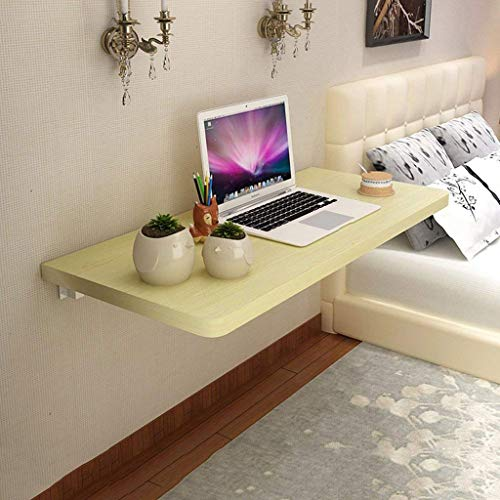 SHELFDQ Mesa Plegable Plegable suspendida Mesa de Comedor Mesa de Comedor Espacio ahorrador Plegable Escritorio Convertible Moderno (Color : Amarillo Claro, Tamaño : 80 * 40cm)