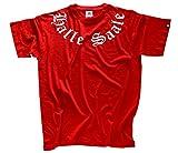 Halle Saale Schriftzug rund Old English T-Shirt Rot XXXL