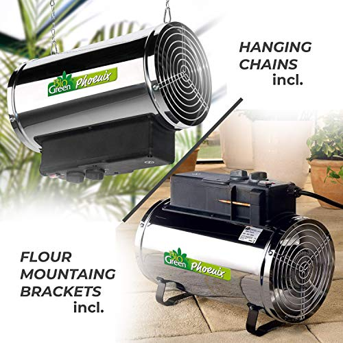 The Biogreen PHX 2.8/GB Phoenix Electric Fan Heater is a powerful model that can be hang by chains or mounted on the floor offering more flexibility when it comes to positioning your heater. The heater offers a maximum energy output of 2.8Kw and also comes with 3 heat settings making it more energy efficient.