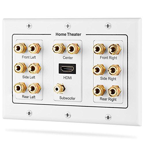 Fosmon HD80063-Gang 7.1Surround Distribution Home Theater Rame Placcato Oro Banana Binding