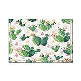 Alfombra Cactus Con Patrón Espinoso, Flores y Pétalos