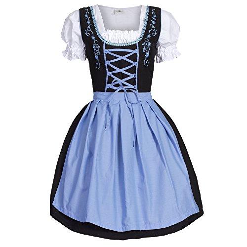 Dirndl 3 tlg.Trachtenkleid Kleid, Bluse, Schürze, Gr. 40 schwarz blau