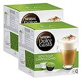 Nescafé Dolce Gusto soja capuchino, Café con leche de soja, soy Leche, libre de lactosa, Cápsula de café, 32Cápsulas, (16Raciones)