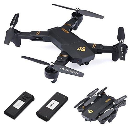Virhuck Quadricottero Pieghevole 720P Visuo xs809w, con 2 Batterie, FPV WiFi / altitudine mantenuto / modalità Senza Testa / modalità Alta e Bassa velocità / modalità G-sensore RC Drone -Nero