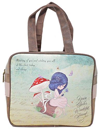 Bolso portadocumentos con estampado de muñeca, Coleccion 2018, Diseño mariposas. (Pequeño)
