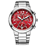 CENXINO Women's Elegant Luxury Chronograph Wrist Watches with Date Calendar and Stainless Steel Band (Red Dial with Luminous Hands?