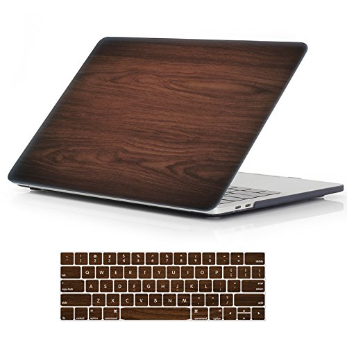 "iCasso MacBook New Pro 13 Case 2017 and 2016 Release Hard Shell Cover for Newest MacBook Pro 13"" Retina Model A1706/A1708 with/Without Touch Bar and Touch ID with Keyboard Cover (Brown Woodgrain)"