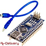 AZDelivery Nano V3.0 CH340 Chip fertig verlötete, verbesserte Version mit USB Kabel, 100% Arduino Nano V3 kompatibel