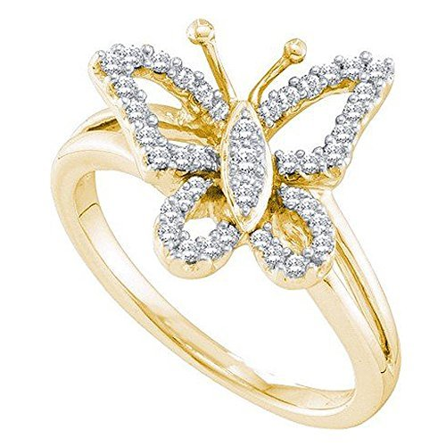 0.25quilates (de quilate) 14K oro amarillo corte redondo diamante señoras novia mariposa mano derecha anillo 1/4CT