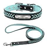 Beirui Weich geflochtenes Hundehalsband aus echtem Leder, Halsband mit Hundemarke und Leine ca. 120 cm.