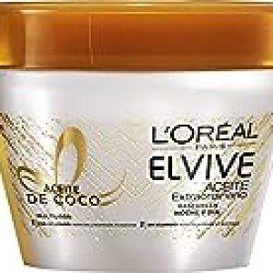 L'Oreal Paris Elvive Mascarilla Aceite de Coco Noche y Día - 3 Paquetes de 300 gr - Total: 900 gr