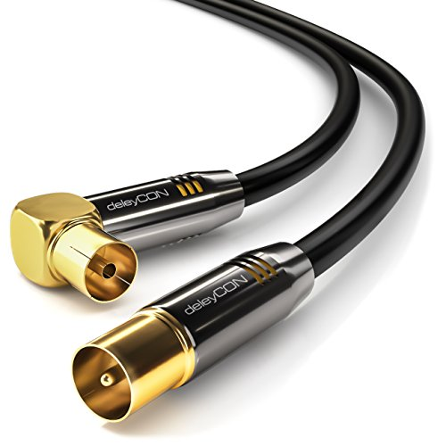 deleyCON TV Cavo antenna 3,0m / cavo coassiale/Innesto antenna / 1x angolato/1x diritta/Spina di...
