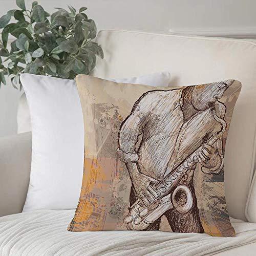 Poliestere morbido copricuscino decorativo,Musica, musicista jazz che suona il sassofono solista in strada,di federe per cuscini di per salotto divano camera da letto con cerniera invisibile,45x45cm