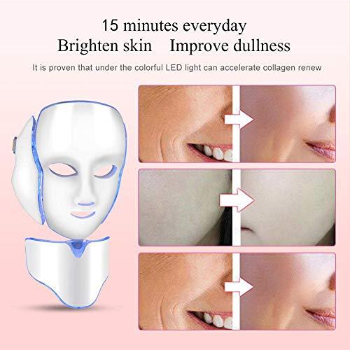 7 couleurs LED masque facial de traitement de la lumière avec Cou, rajeunissement beauté de masque facial, soin visage anti-rides anti-acné ... 24