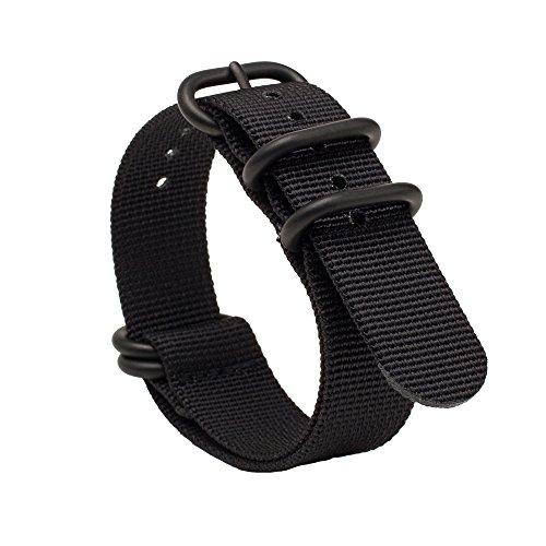 Gemony Nato Strap 5 Anelli acciaio inossidabile spazzolato con fibbia in Nylon Zulu cinturino per orologio Dive Larghezza 20mm & 22mm, WB-013E