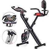 Sportstech Vélo d'Appartement F-Bike X100-B 4-en-1 Home Trainer Vélo d'intérieur, X-Bike Adulte, poignées cardiofréquencemètre, Cordes de Traction, Support Tablette, Dossier inclinable