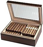 Egoist JK00171 Holz Humidor Box mit Hygrometer, Zigarren-Zubehör - Braun