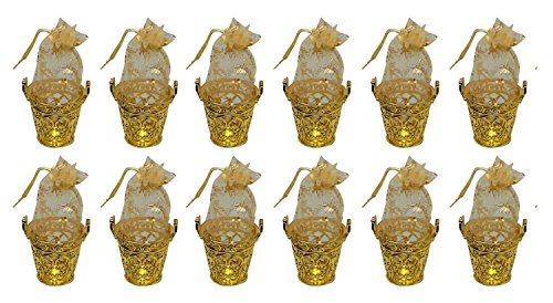 Baal Set of 12 Bucket Shapes Potli Best Navratri Gifts Items for Girls Decorative Potli for Chocolates for Kids, Golden, 35 Grams, Pack of 1
